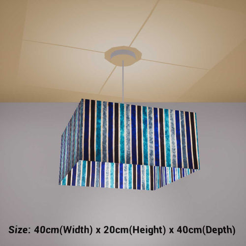 Square Lamp Shade - P05 - Batik Stripes Blue, 40cm(w) x 20cm(h) x 40cm(d) - Imbue Lighting