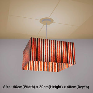 Square Lamp Shade - P07 - Batik Stripes Brown, 40cm(w) x 20cm(h) x 40cm(d) - Imbue Lighting