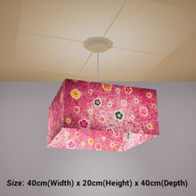 Square Lamp Shade - P38 - Batik Multi Flower on Purple, 40cm(w) x 20cm(h) x 40cm(d) - Imbue Lighting