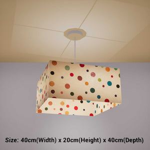 Square Lamp Shade - P39 - Polka Dots on Natural Lokta, 40cm(w) x 20cm(h) x 40cm(d) - Imbue Lighting