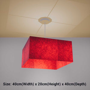 Square Lamp Shade - P60 - Red Lokta, 40cm(w) x 20cm(h) x 40cm(d) - Imbue Lighting