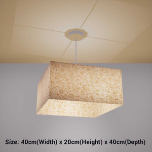 Square Lamp Shade - P69 - Garden Gold on Natural, 40cm(w) x 20cm(h) x 40cm(d) - Imbue Lighting