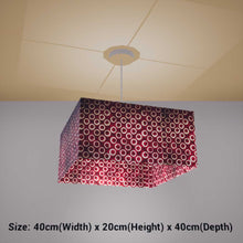 Square Lamp Shade - P73 - Batik Red Circles, 40cm(w) x 20cm(h) x 40cm(d) - Imbue Lighting