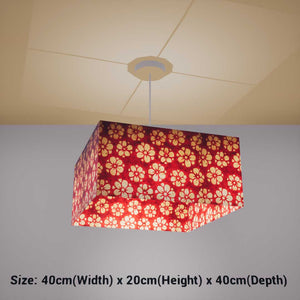 Square Lamp Shade - P76 - Batik Star Flower Red, 40cm(w) x 20cm(h) x 40cm(d) - Imbue Lighting