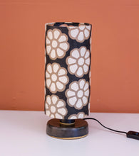 Round Grey Stoneware Table Lamp Base with Drum Lamp Shade P24 (15cm Wide x 30cm High)