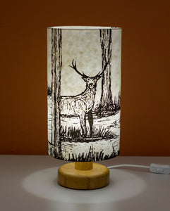 Deer Screen Print Lamp Shade on an Oak Lamp Base
