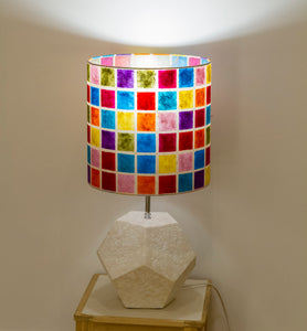 White Dodecahedron Table Lamp with a Mutli Batik Square Drum Lamp Shade
