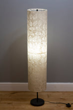 Drum Floor Lamp - P28 - Batik Leaf on Natural, 22cm(d) x 114cm(h)