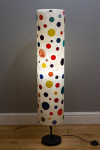Drum Floor Lamp - P39 - Polka Dots on Natural Lokta, 22cm(d) x 114cm(h)