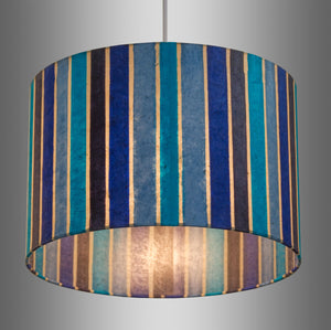 Oval Lamp Shade - P05 - Batik Stripes Blue, 40cm(w) x 30cm(h) x 30cm(d)