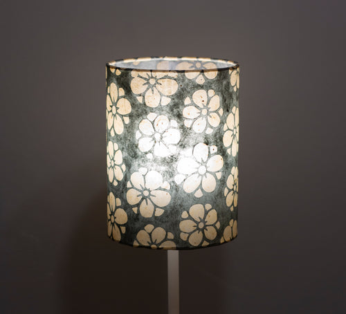 Drum Lamp Shade - P77 - Batik Star Flower Grey, 15cm(d) x 20cm(h)