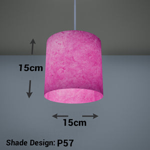 Drum Lamp Shade - P57 - Hot Pink Lokta, 15cm(d) x 15cm(h)