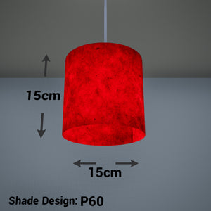 Drum Lamp Shade - P60 - Red Lokta, 15cm(d) x 15cm(h)