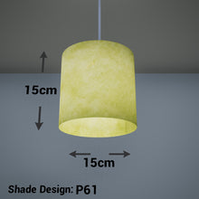 Drum Lamp Shade - P61 - Lime Lokta, 15cm(d) x 15cm(h)
