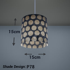 Drum Lamp Shade - P78 - Batik Dots on Grey, 15cm(d) x 15cm(h) - Imbue Lighting