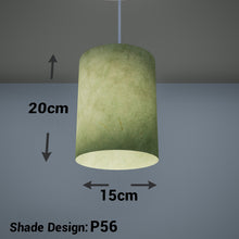 Drum Lamp Shade - P56 - Green Lokta , 15cm(d) x 20cm(h)