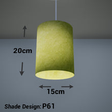 Drum Lamp Shade - P61 - Lime Lokta, 15cm(d) x 20cm(h)