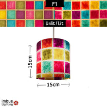 Drum Lamp Shade - P01 - Batik Multi Square, 15cm(d) x 15cm(h) - Imbue Lighting
