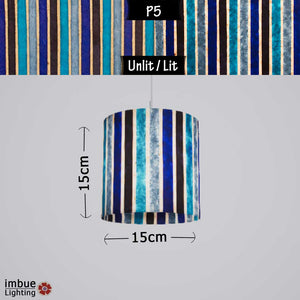 Drum Lamp Shade - P05 - Batik Stripes Blue, 15cm(d) x 15cm(h) - Imbue Lighting