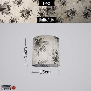 Drum Lamp Shade - P42 - Bees Screen Print on Natural Lokta, 15cm(d) x 15cm(h) - Imbue Lighting