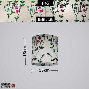 Drum Lamp Shade - P43 - Embroidered Flowers on White, 15cm(d) x 15cm(h) - Imbue Lighting