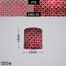 Drum Lamp Shade - P73 - Batik Cranberry Circles, 15cm(d) x 15cm(h)