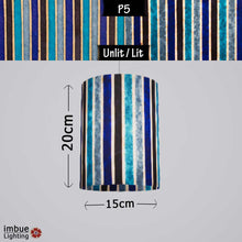 Drum Lamp Shade - P05 - Batik Stripes Blue, 15cm(d) x 20cm(h) - Imbue Lighting