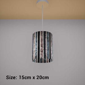 Drum Lamp Shade - P08 - Batik Stripes Grey, 15cm(d) x 20cm(h) - Imbue Lighting