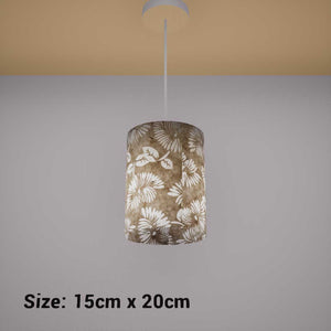 Drum Lamp Shade - P09 - Batik Peony on Natural, 15cm(d) x 20cm(h) - Imbue Lighting