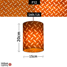 Drum Lamp Shade - P12 - Batik Tread Plate Brown, 15cm(d) x 20cm(h) - Imbue Lighting