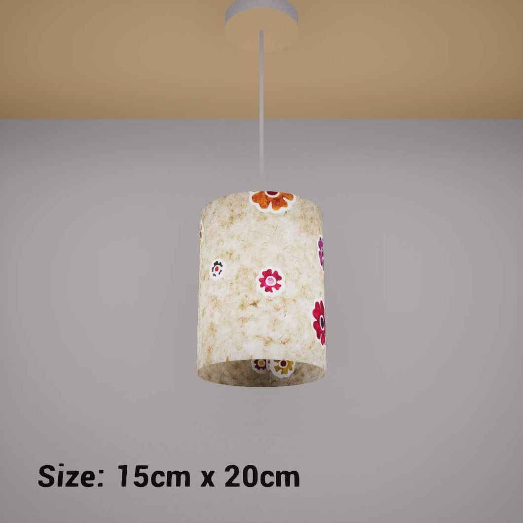 Drum Lamp Shade - P35 - Batik Multi Flower on Natural, 15cm(d) x 20cm(h) - Imbue Lighting