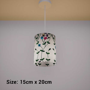 Drum Lamp Shade - P43 - Embroidered Flowers on White, 15cm(d) x 20cm(h) - Imbue Lighting