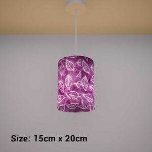 Drum Lamp Shade - P68 - Batik Leaf on Purple, 15cm(d) x 20cm(h) - Imbue Lighting