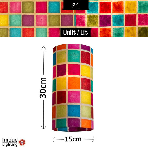 Drum Lamp Shade - P01 - Batik Multi Square, 15cm(d) x 30cm(h) - Imbue Lighting