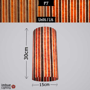 Drum Lamp Shade - P07 - Batik Stripes Brown, 15cm(d) x 30cm(h) - Imbue Lighting