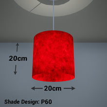 Drum Lamp Shade - P60 - Red Lokta, 20cm(d) x 20cm(h)
