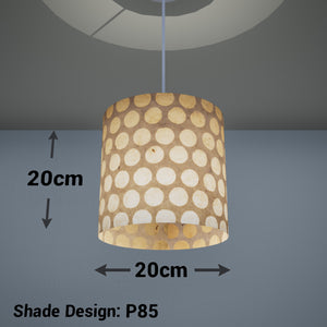 Drum Lamp Shade - P85 ~ Batik Dots on Natural, 20cm(d) x 20cm(h)
