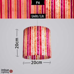Drum Lamp Shade - P04 - Batik Stripes Pink, 20cm(d) x 20cm(h) - Imbue Lighting
