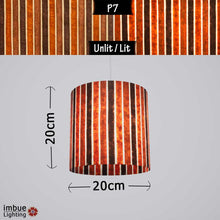 Drum Lamp Shade - P07 - Batik Stripes Brown, 20cm(d) x 20cm(h) - Imbue Lighting