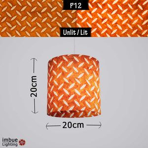 Drum Lamp Shade - P12 - Batik Tread Plate Brown, 20cm(d) x 20cm(h) - Imbue Lighting