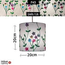 Drum Lamp Shade - P43 - Embroidered Flowers on White, 20cm(d) x 20cm(h) - Imbue Lighting