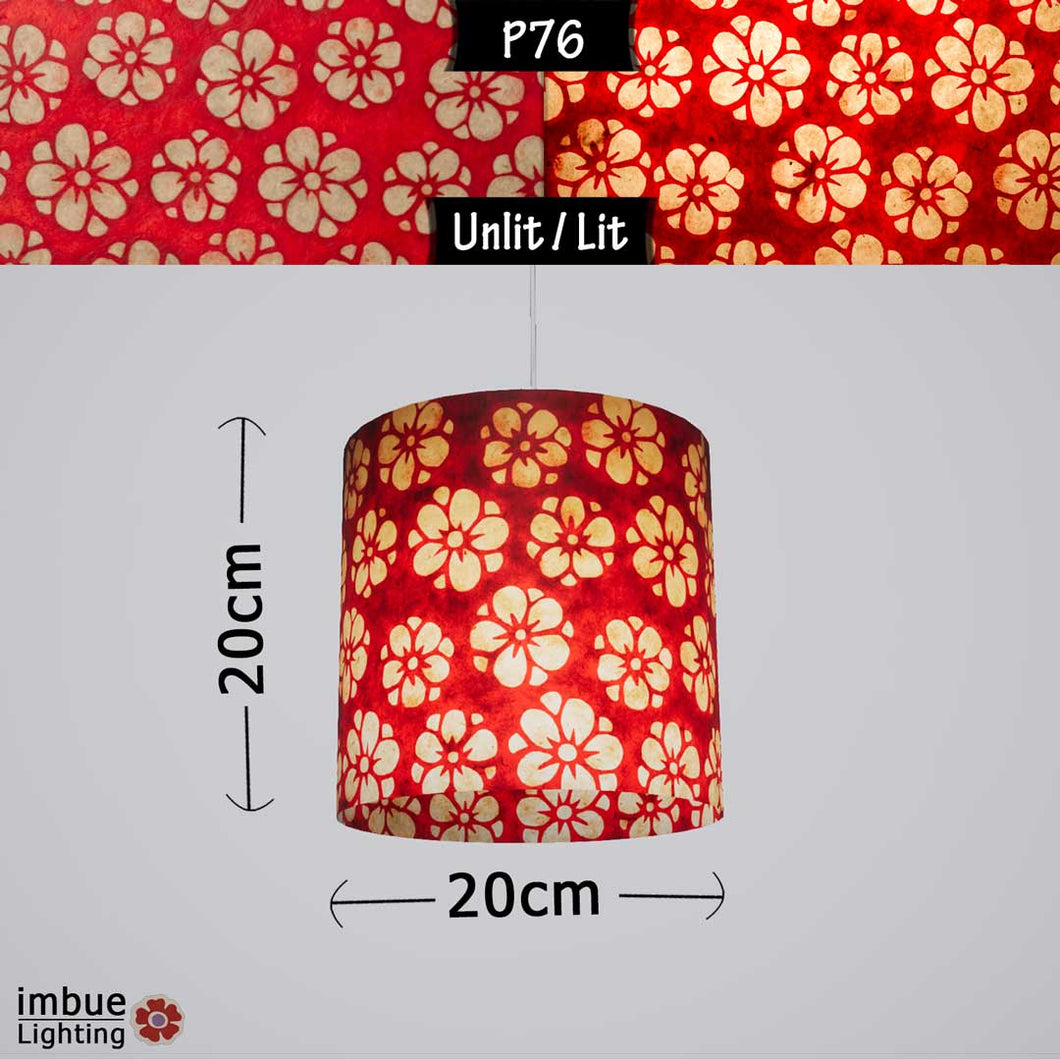 Drum Lamp Shade - P76 - Batik Star Flower Red, 20cm(d) x 20cm(h) - Imbue Lighting