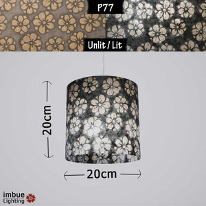 Drum Lamp Shade - P77 - Batik Star Flower Grey, 20cm(d) x 20cm(h) - Imbue Lighting