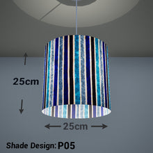 Drum Lamp Shade - P05 - Batik Stripes Blue, 25cm x 25cm