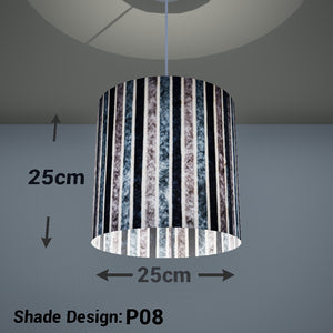 Drum Lamp Shade - P08 - Batik Stripes Grey, 25cm x 25cm