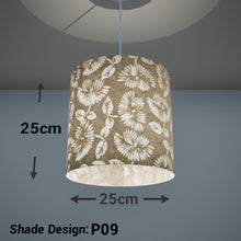 Drum Lamp Shade - P09 - Batik Peony on Natural, 25cm x 25cm