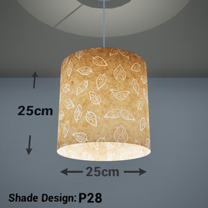 Drum Lamp Shade - P28 - Batik Leaf on Natural, 25cm x 25cm