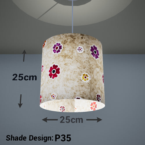 Drum Lamp Shade - P35 - Batik Multi Flower on Natural, 25cm x 25cm