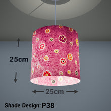 Drum Lamp Shade - P38 - Batik Multi Flower on Purple, 25cm x 25cm