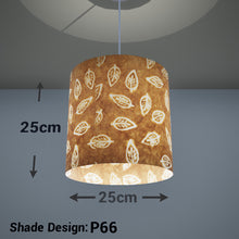 Drum Lamp Shade - P66 - Batik Leaf on Camel, 25cm x 25cm